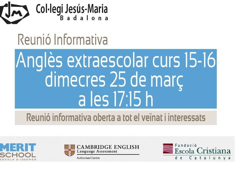 Anglès Extraescolar Curs 2015-16