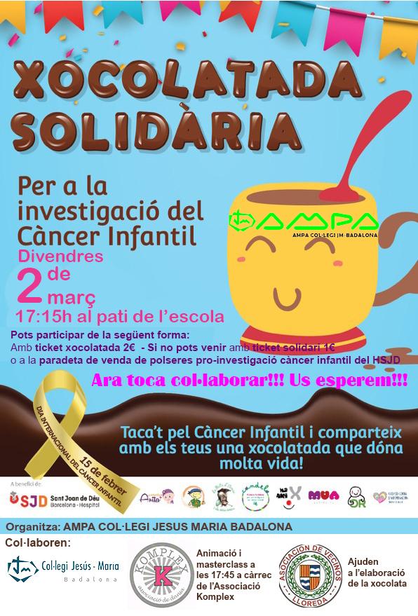 Vine divendres a participar a la Xocolatada en favor a la investigació del càncer infantil!!!
